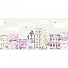 047. Londen behang rand roze grijs