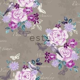 004. Esta Home Bloemenbehang taupe met roze/teale/oudroze bloemen