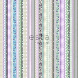 010. Streepjesbehang in bruin/groen/blauw/paars