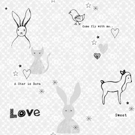 Onszelf Fantasiebehang met konijn-vogel schaapje in grijs zwart wit OZ 3250