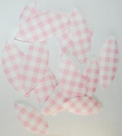 Behangblaadjes ruitjes roze