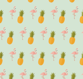 Flamingo behang met Ananas Renee blauw