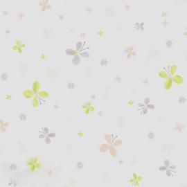 Vlindertjesbehang met bloemen in roze grijs groen