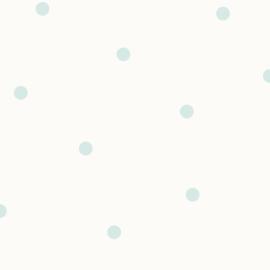 Stippenbehang wit lichtblauw  12602