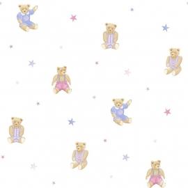 Teddy beren behang lila roze met ster 160