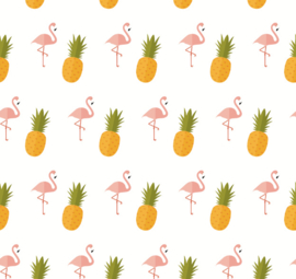 Flamingo behang met Ananas Renee wit