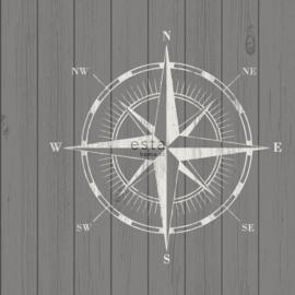 Donkergrijs behang met kompas 138976