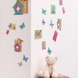 Caselio Vogelhuisjes en vlinderpatchwork sticker