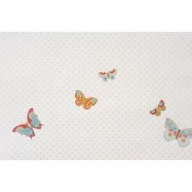 028. Caselio Vlinderbehang in oranje/turquoise/beige/framboosrood