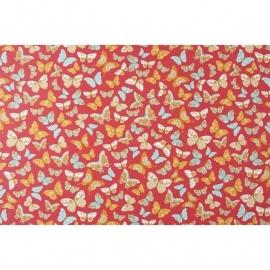 031. Caselio Vlinderstof in framboosrood/oranje/turquoise