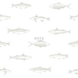 Vissen behang wit zilver 138966