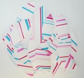 Behangblaadjes streepjes roze petrol fuchsia blauw