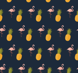 Flamingo behang met Ananas Renee donkerblauw