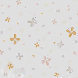 Vlindertjesbehang met bloemen in beige grijs roze