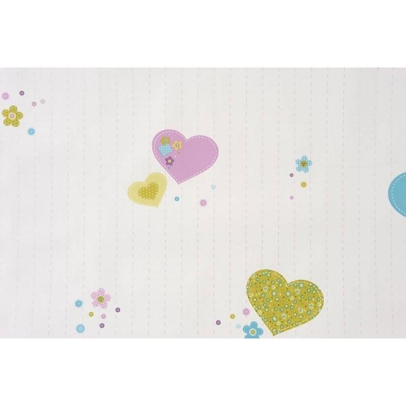 Caselio Hartjes en Knoopjes behang in limegroen/turquoise/roze 4 stuks