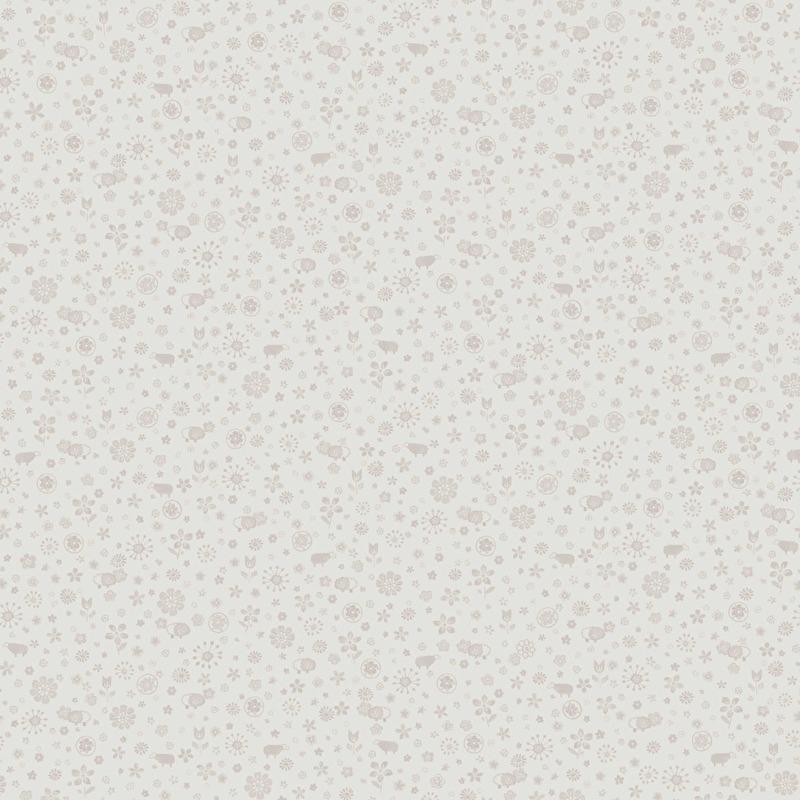 Schaapjesbehang met minibloemen in wit grijs