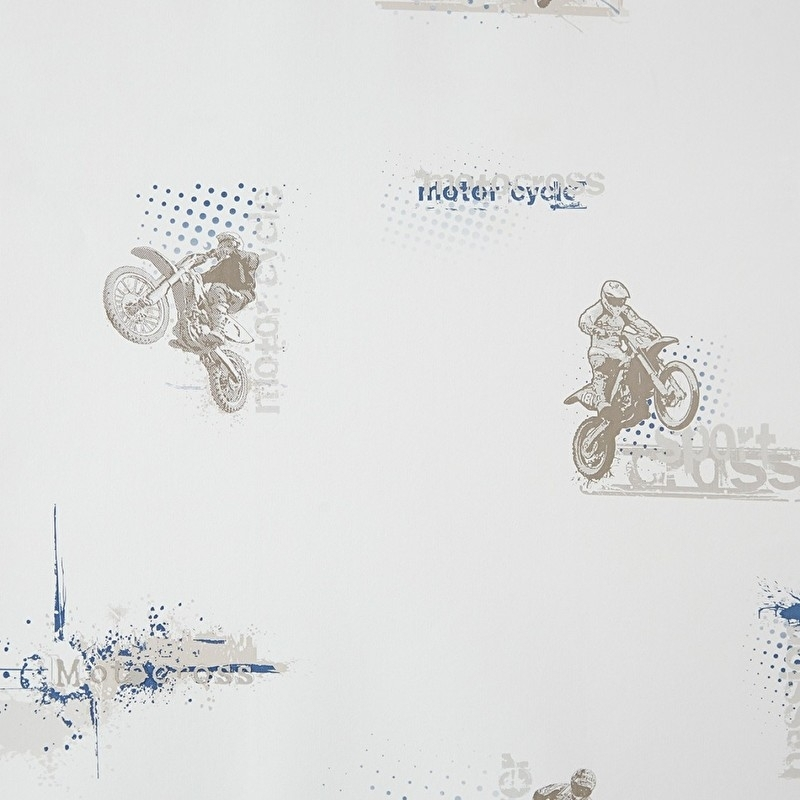 Only Boys Motorcross behang taupe/blauw