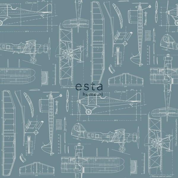 College Constructietekening van vliegtuigen vintage blauw 128809