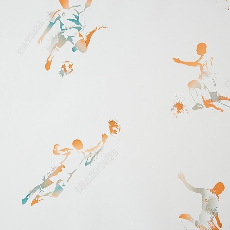 Only Boys Voetbal behang in oranje teale beige