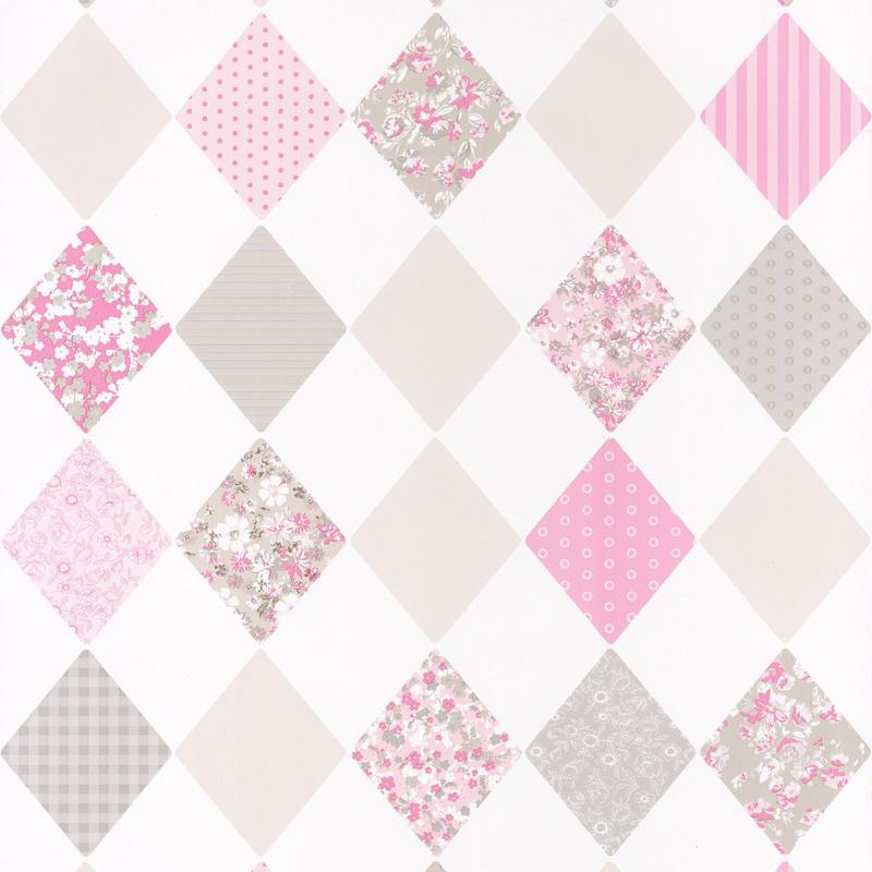 Wiebertjesbehang roze grijs 4018