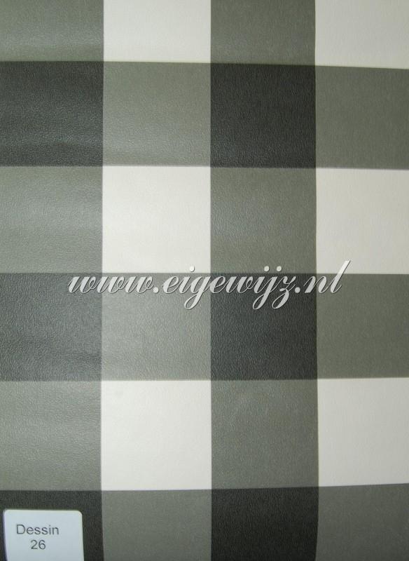 03. Behang per meter Zwart/Wit Ruit