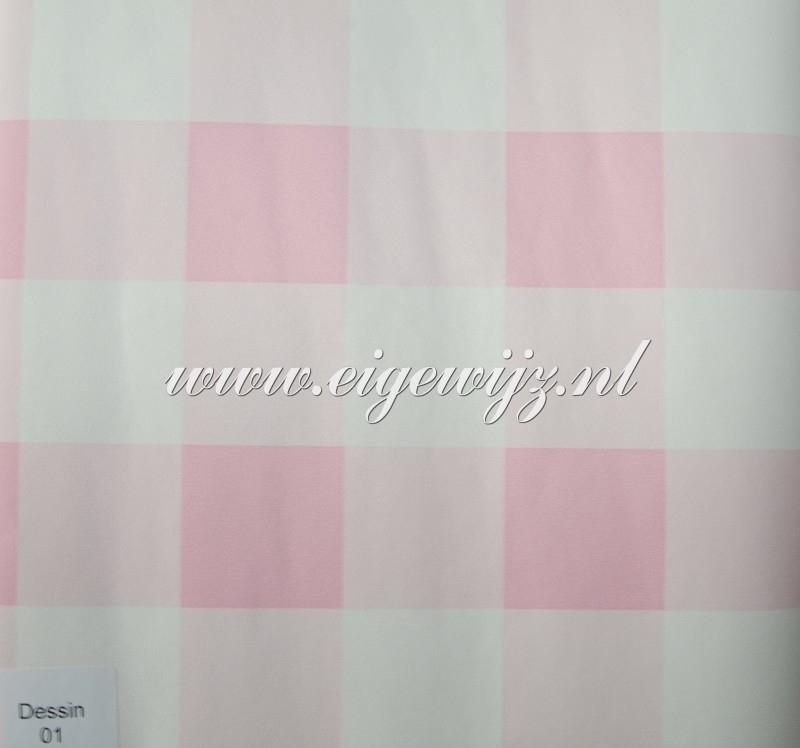 01. Behang per meter Roze/wit Ruit