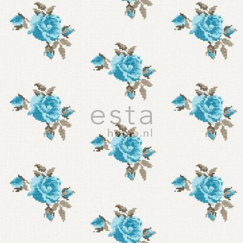 018.  Rozen behang in kruissteekmotief turquoise/teale