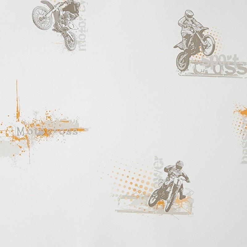 Only Boys Motorcross behang oranje grijs