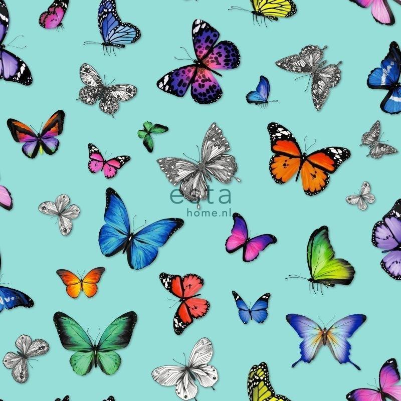 Esta vlinders aqua blauw roze groen geel paars 138537