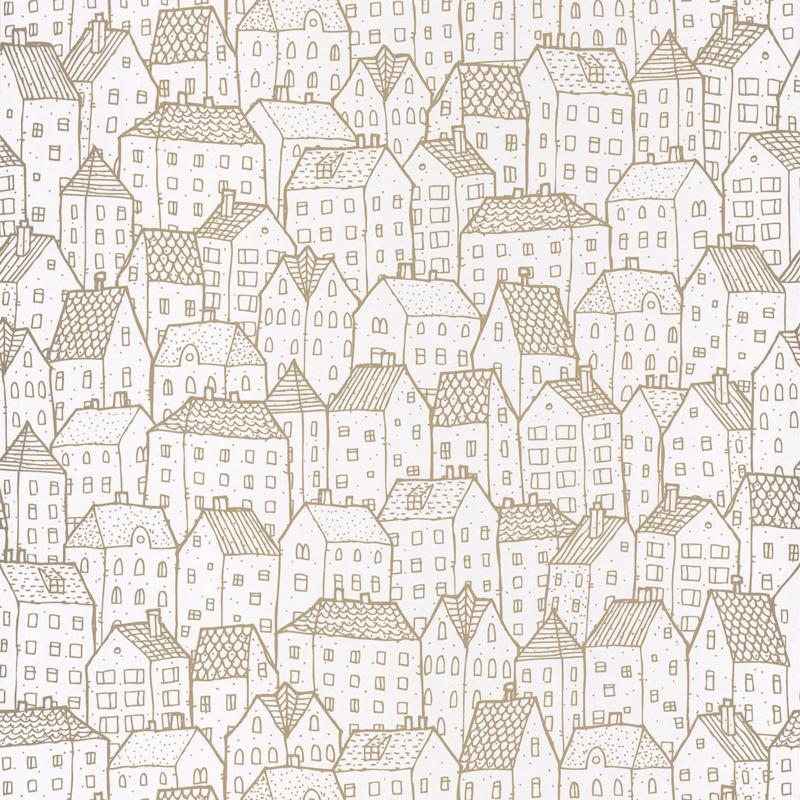 Huisjesbehang in creme wit goud 2000