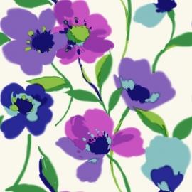 028. Esta Home Klaprozen paars & turquoise 128028