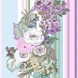 023. Streepbehang met bloemenmotief in lila/roze/paars/teale 138114