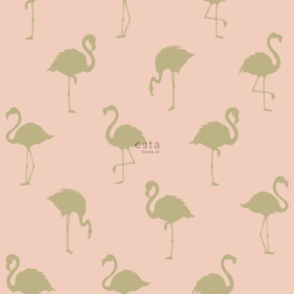 Esta Home Jungle Fever behang Flamingo's 138994 roze goud