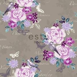 004. Esta Home Bloemenbehang taupe met roze/teale/oudroze bloemen 138122