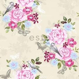 001.Bloemenbehang crème met roze/blauw/groen bloemen 138119