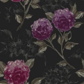 025. Esta Home Hortensia`s zwart & aubergine 128025