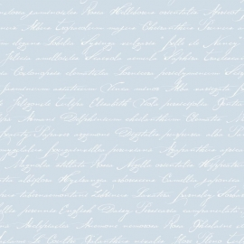 038. Esta Home Handgeschreven latijnse bloemennamen licht blauw 128038