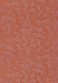 Panama Botanisch blaadjes oranje metalic 3613