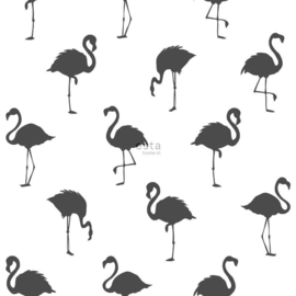 Esta Home Jungle Fever behang Flamingo's 138993 zwart wit