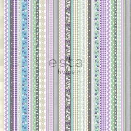 010. Streepjesbehang in bruin/groen/blauw/paars 138143