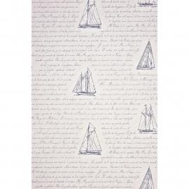 Casadeco Marina bootjesbehang met tekst blauw