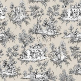 042. Esta Home Toile de Jouy in beige/zwart/wit  138106