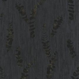Panama Eucalyptus behang antraciet zwart brons 9221