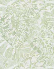Panama Tropische bladeren creme groen 7224
