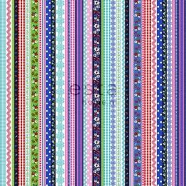 011. Streepjesbehang in blauw/rood/roze/groen/teale 138141