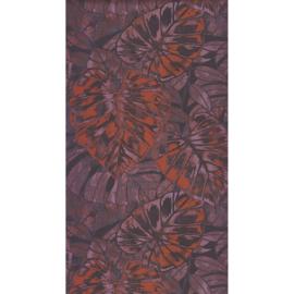 Panama Tropische bladeren paars/oranje 3633