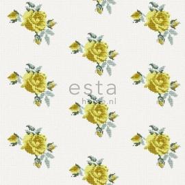 019. Rozen behang in kruissteekmotief geel 138147