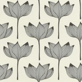 Onszelf Most Fabulous behang 530902  Bloem behang creme zilver zwart