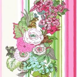 020. Streepbehang met bloemenmotief in roze/groen/blauw 138115