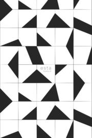 ESTAhome fotobehang grafische tegelmotief zwart wit - 158908
